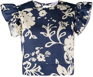 RED Valentino Cropped Floral Print Top