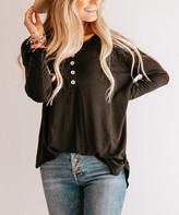 So Perla Affordable So Perla Affordable Women's Tunics Black - Black Button-Front Tunic - Women & Plus