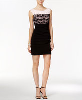 Connected Petite Lace-Contrast Sheath Dress