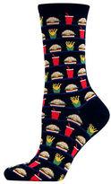 Hot Sox Hamburger and Fries Print Trouser Socks