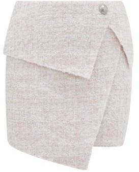 Balmain Asymmetric Boucle-tweed Wrap Skirt - Pink White