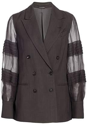 Brunello Cucinelli Sheer Organza Pleat-Sleeve Double Breasted Blazer