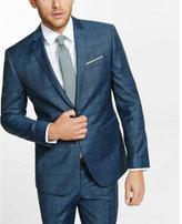 Express slim photographer navy windowpane wool blend suit jacket