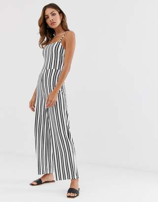 Stradivarius bow jumpsuit in stripes