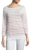 Majestic Filatures Striped Three-Quarter Sleeve Linen Tee