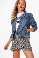 boohoo Leena Back Split Denim Jacket mid blue