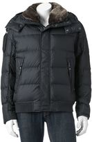 Andrew Marc Men's Down Hooded Faux-Fur Trim Bomber Jacket