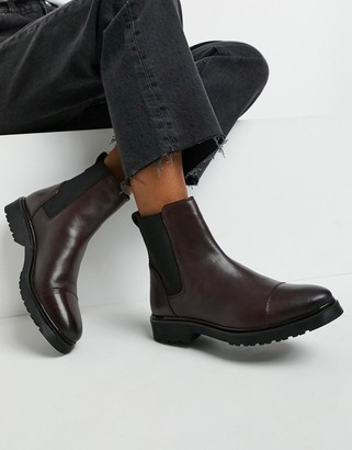 Dune flat chelsea boots in burgundy leather