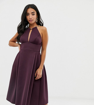 Asos DESIGN Petite prom midi dress with necklace trim-Purple