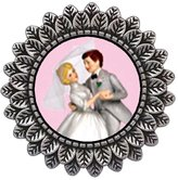 GiftJewelryShop Ancient Style Silver Plate Wedding Cake Couple Leaves Cameo Pins Brooch