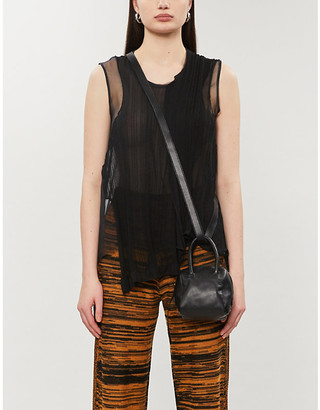 Selfridges Serienumerica Asymmetric panelled silk-blend top