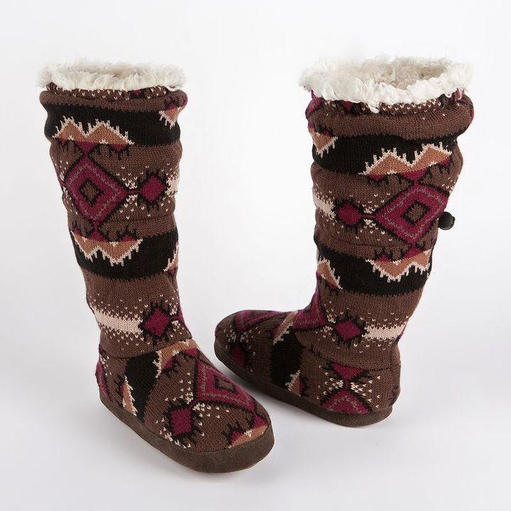 Muk Luks tina zigzag toggle bootie slippers