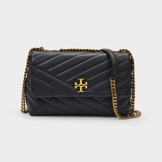 Tory Burch Baguette Bag Kira In Quilted Black Leather