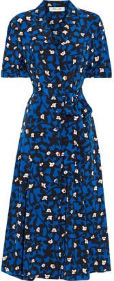 Diane von Furstenberg Lily Belted Floral-print Silk Crepe De Chine Midi Shirt Dress