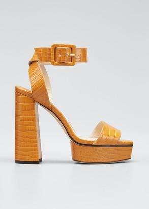 Jimmy Choo Jax Mock-Croc Platform Sandals