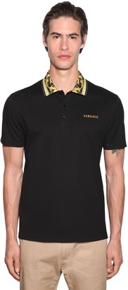 Versace Polo W/ Printed Collar