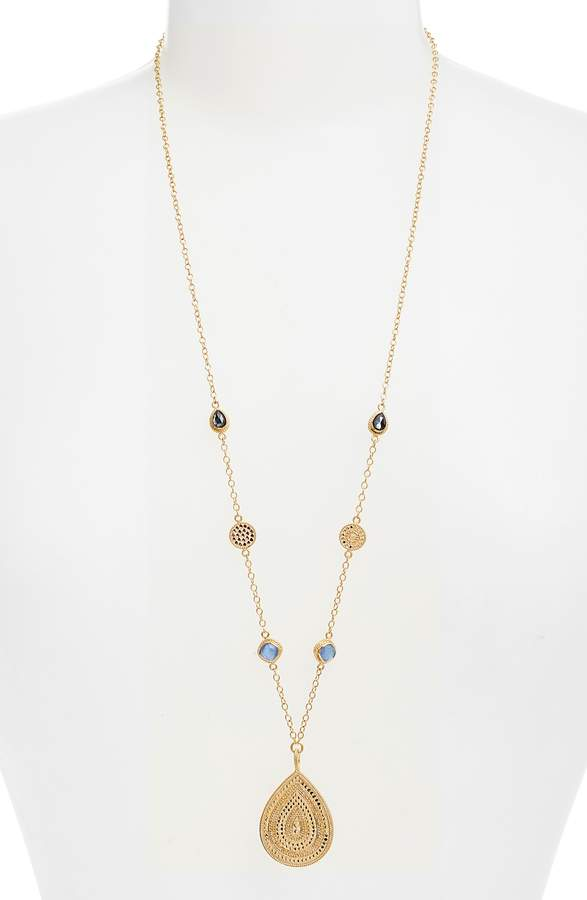Anna Beck Semiprecious Station Long Pendant Necklace