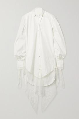 DANIELLE FRANKEL Naomi Lace-trimmed Poplin Shirt Dress - Ivory
