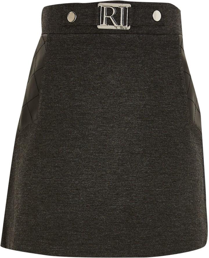 River Island Girls Grey ponte PU panel skirt