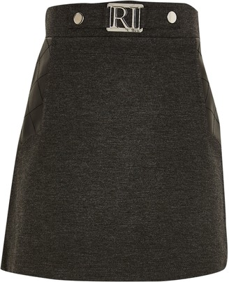 River Island Girls Grey ponte PU panel skirt