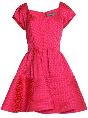 Zac Posen Flared Pleated Jacquard Mini Dress
