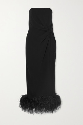 16Arlington Himawari Strapless Feather-trimmed Knotted Crepe Midi Dress - Black