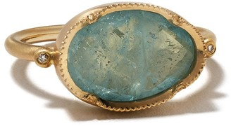 Brooke Gregson 14kt yellow gold Orbit aquamarine and diamond ring