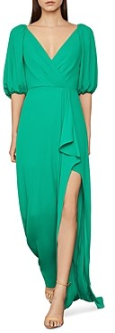 BCBGMAXAZRIA V-Neck Ruffled Gown