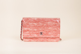 Chanel Striped Patent Leather Wallet on Chain