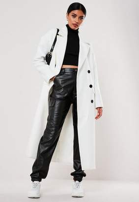 Missguided Petite White Oversized Double Breasted Midaxi Coat