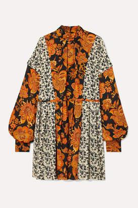 Dodo Bar Or Erin Paneled Pleated Floral-print Crepe Mini Dress - Orange