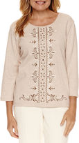 Alfred Dunner Twilight Point 3/4 Sleeve Embroidery Top