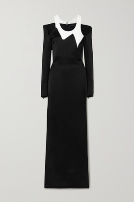 Haider Ackermann Cutout Satin And Crepe Maxi Dress - Black