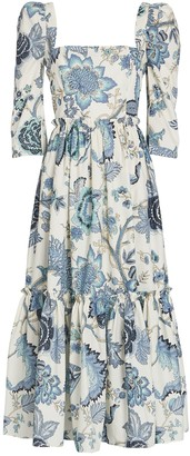 Cara Cara Jacobean Floral Cotton Midi Dress