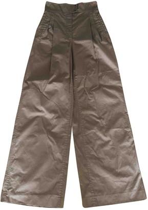 Barbara Casasola Beige Cotton Trousers for Women