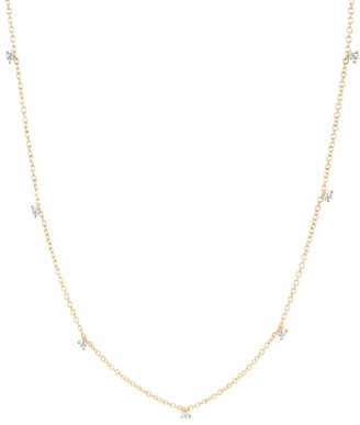 Ef Collection 14K Yellow Gold & Prong-Set Diamond Station Necklace