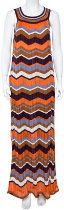 M Missoni Multicolor Zig Zag Pattern Perforated Knit Sleeveless Dress L
