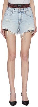 Alexander Wang Bite' bandana print underlayer distressed denim shorts