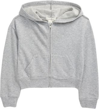 Treasure & Bond Kids' Kid's Front Zip Crop Hooded Sweatshirt