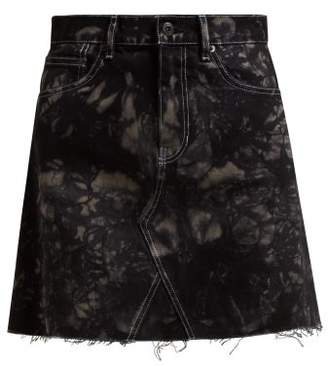 Proenza Schouler Pswl - Bleached Denim Mini Skirt - Womens - Black Multi