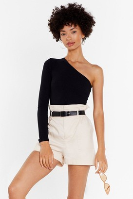 Nasty Gal Womens She's the One Shoulder Ribbed Bodysuit - black - 6