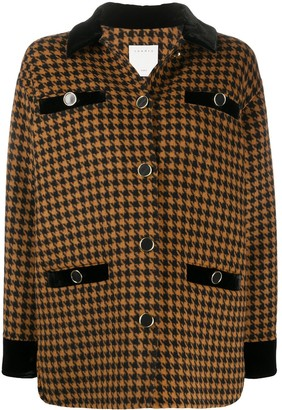 Sandro Tayla dogtooth print wool blend coat