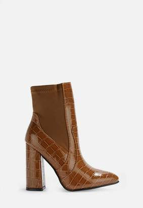 Missguided Tan Croc Elasticated Ankle Boots