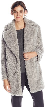 Kensie Women's Notch Collar Faux Fur Coat