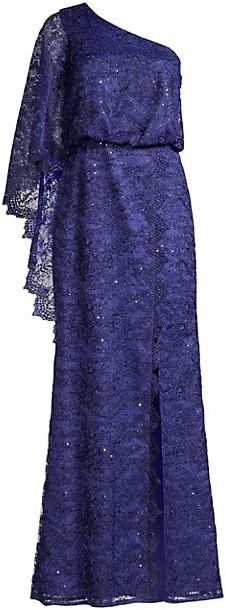 Aidan Mattox Lace One-Shoulder Gown