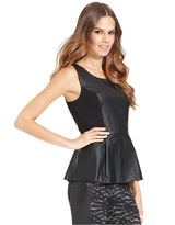 Kensie Top, Sleeveless Scoop-Neck Faux-Leather Peplum