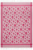 Alexander McQueen Grey & Pink Skull Blanket Scarf
