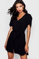 boohoo Flutter Sleeve Woven Tea Dress