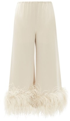 16Arlington Mandrake Cropped Feather-trimmed Satin Trousers - Beige