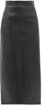 Miu Miu Panelled Leather Midi Skirt - Black